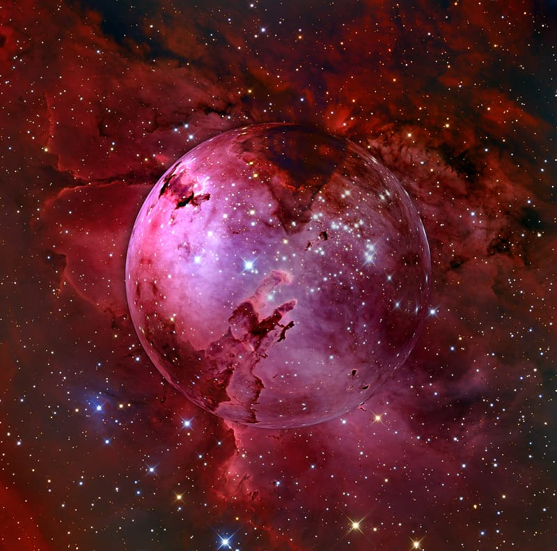 Red planet and galaxy full of stars