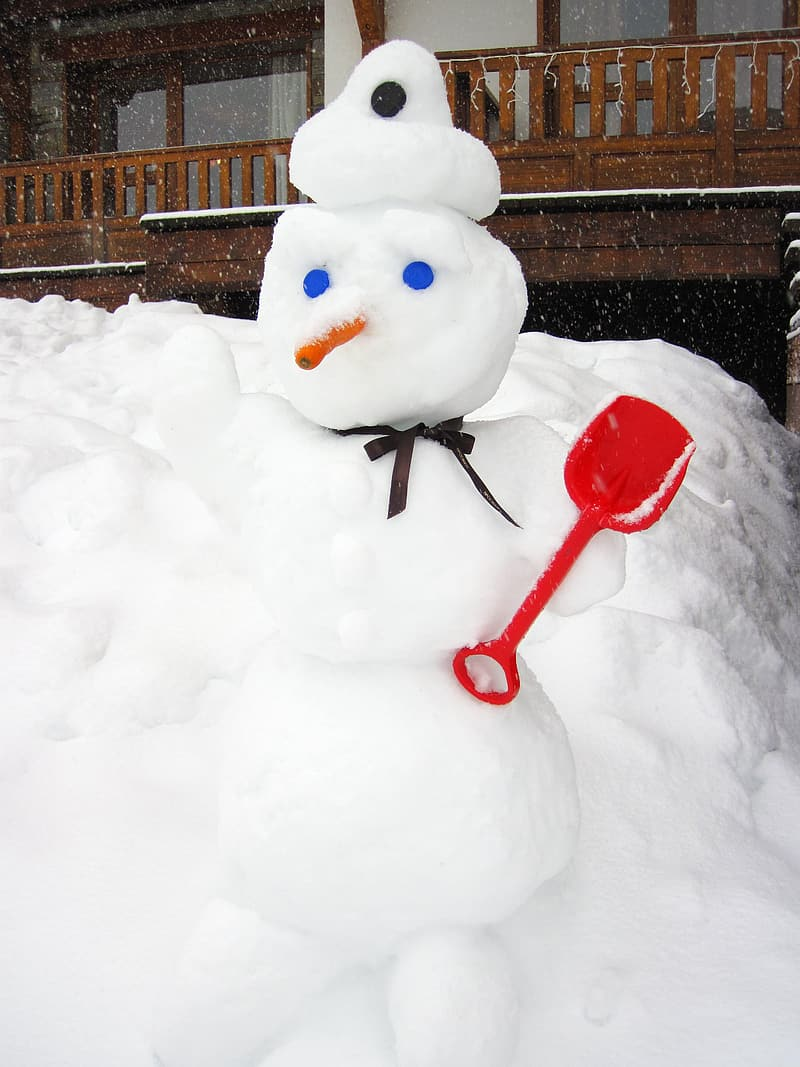 Snowman with red rose on top