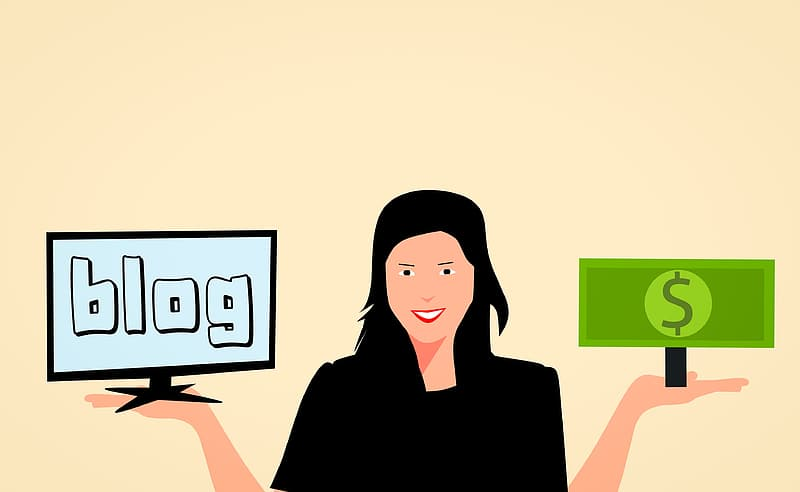 Illustration of woman holding up screen from a blog and money earned from blogging.