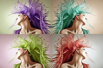 Women with four assorted-color hair collage