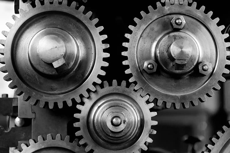 Grayscale photo of gears