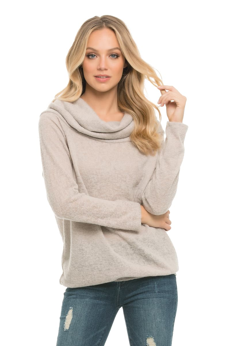 Women's gray pullover hoodie and gray denim bottoms