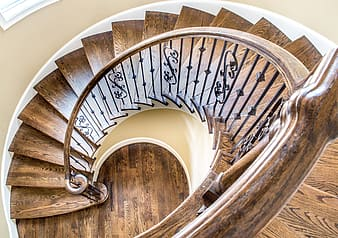 High angle view of brown spiral stairs
