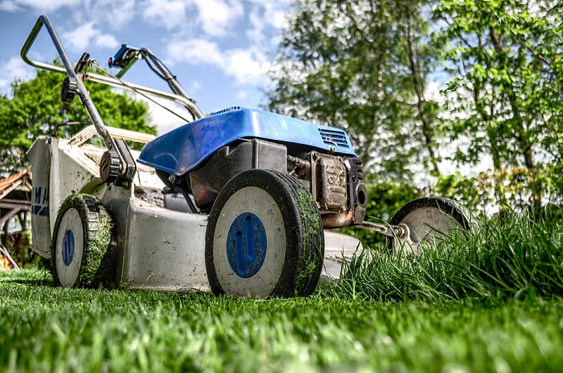 Low angle photography gray and blue push mower